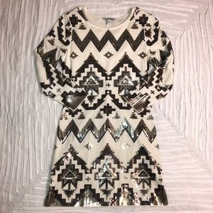 Express Dresses - SEQUIN AZTEC PRINT body con dress